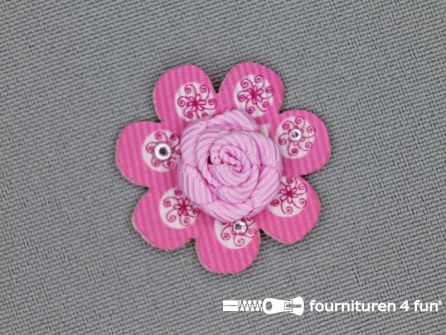 Brocante applicatie 30x30mm bloem licht - barbie roze