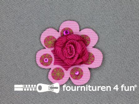 Brocante applicatie 30x30mm bloem fuchsia - licht roze