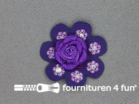 Brocante applicatie 30x30mm bloem paars