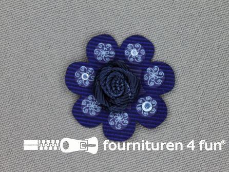 Brocante applicatie 30x30mm bloem marine blauw