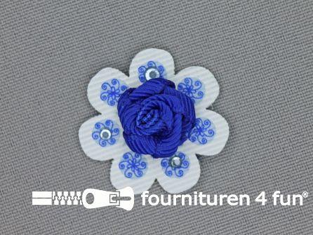 Brocante applicatie 30x30mm bloem kobalt blauw - wit