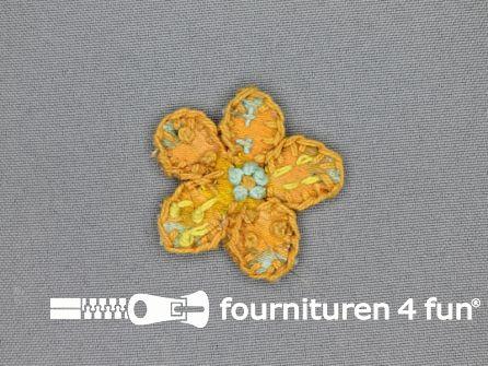 Brocante applicatie 45x45mm bloem oranje - geel