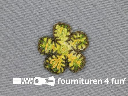 Brocante applicatie 45x45mm bloem lime groen - bruin