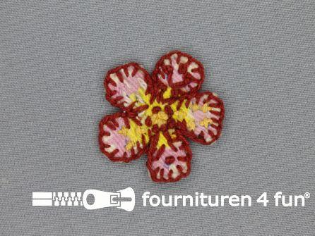 Brocante applicatie 45x45mm bloem rood - roze