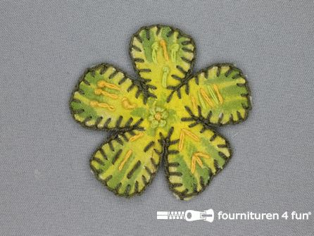 Brocante applicatie 75x75mm bloem lime groen - bruin