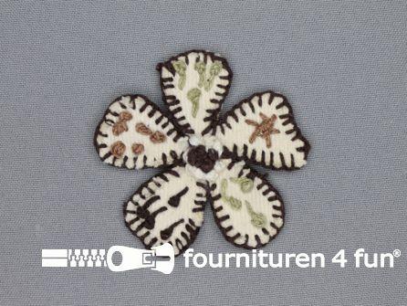 Brocante applicatie 60x60mm bloem ecru - donker bruin