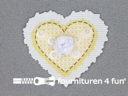 Brocante applicatie 41x38mm hartje licht geel