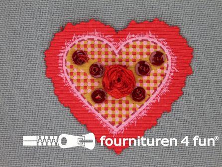 Brocante applicatie 41x38mm hartje rood