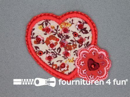 Brocante applicatie 55x40mm hartje - bloem rood