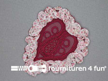 Brocante applicatie 125x120mm hart rood