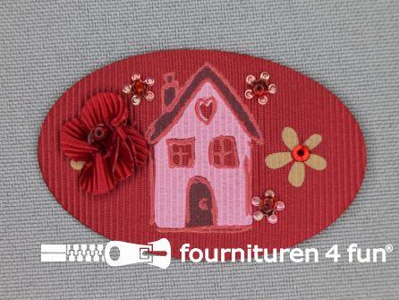 Brocante applicatie 34x52mm huis rood