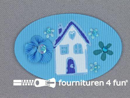 Brocante applicatie 34x52mm huis aqua blauw