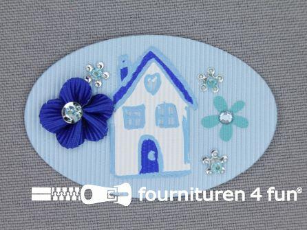 Brocante applicatie 34x52mm huis licht blauw