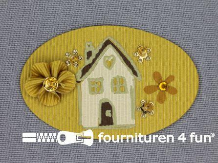 Brocante applicatie 34x52mm huis oker geel