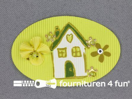 Brocante applicatie 34x52mm huis fel geel