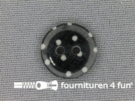 Polkadot knoop 15mm zwart - wit