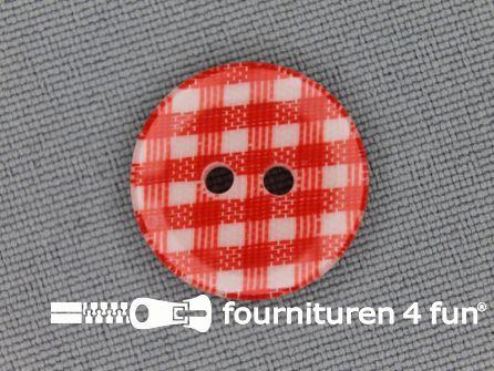 Ruitjes knoop 18mm rood
