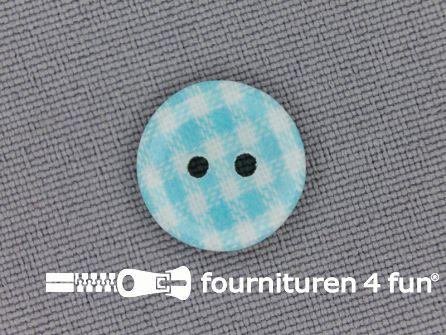 Ruitjes knoop 14mm aqua blauw
