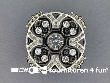 Strass stenen knoop 26mm rond zilver-zwart