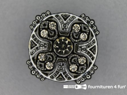 Strass stenen knoop 26mm rond zwart- oud zilver