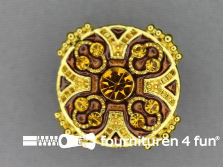 Strass stenen knoop 26mm rond goud - bruin