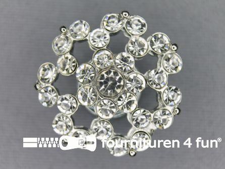 Strass stenen knoop 26mm bloem zilver
