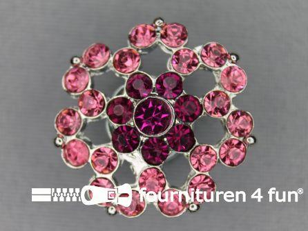 Strass stenen knoop 26mm bloem barbie roze