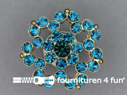 Strass stenen knoop 26mm bloem aqua blauw