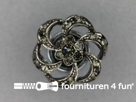 Strass stenen knoop 20mm bloem zwart zilver