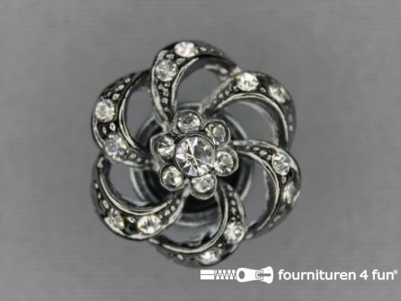 Strass stenen knoop 20mm bloem zilver