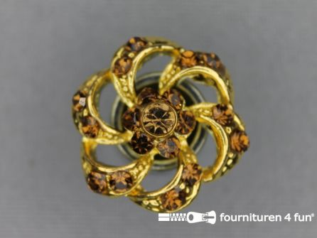 Strass stenen knoop 20mm bloem goud