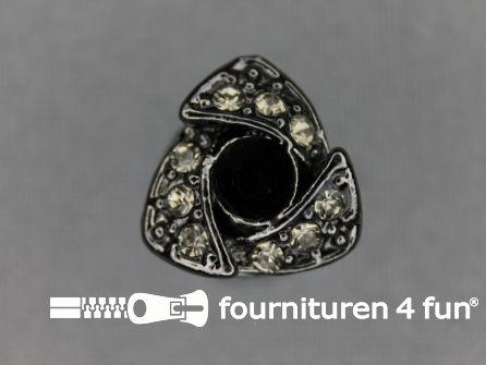 Strass stenen knoop 14mm driehoek zwart zilver
