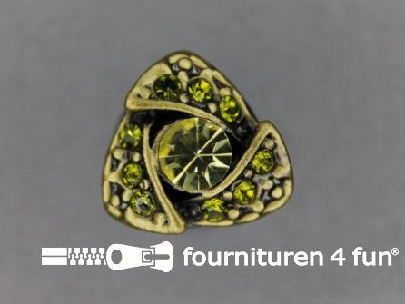 Strass stenen knoop 14mm driehoek olijf groen