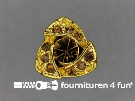 Strass stenen knoop 14mm driehoek goud