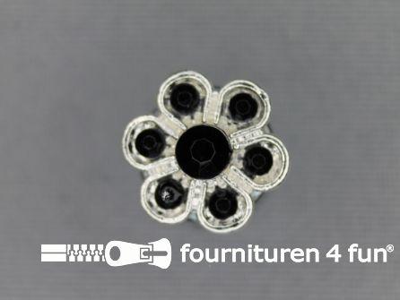 Strass stenen knoop 13mm bloem zwart