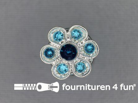 Strass stenen knoop 13mm bloem aqua blauw