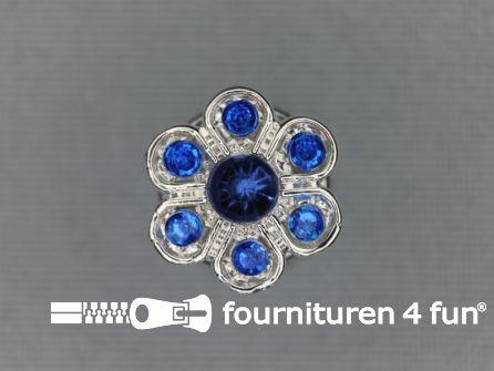 Strass stenen knoop 13mm bloem kobalt blauw