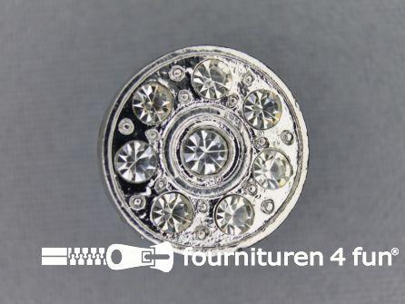 Strass stenen knoop 18mm rond zilver