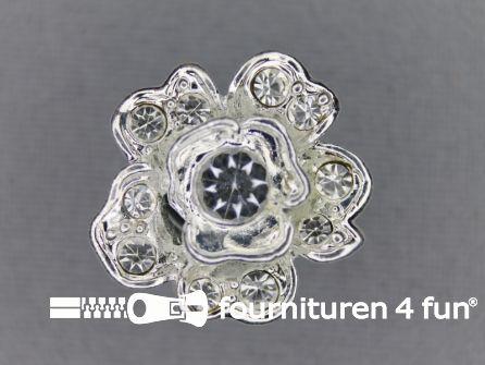 Strass stenen knoop 20mm zilver