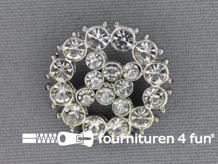 Strass stenen knoop 23mm rond zilver