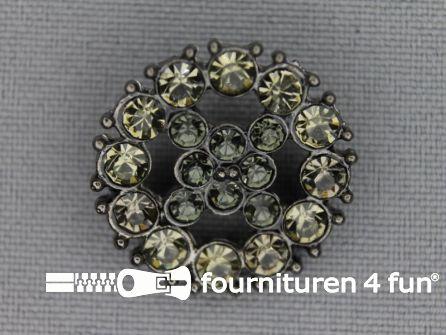 Strass stenen knoop 23mm rond grijs