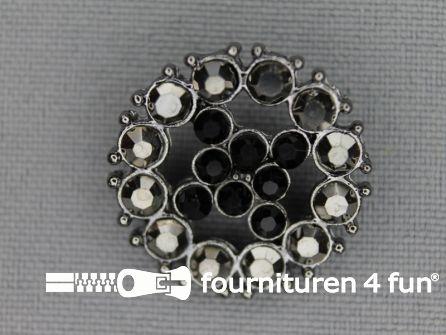 Strass stenen knoop 23mm rond zwart