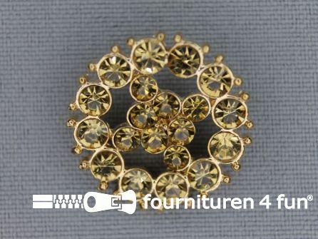 Strass stenen knoop 23mm rond goud