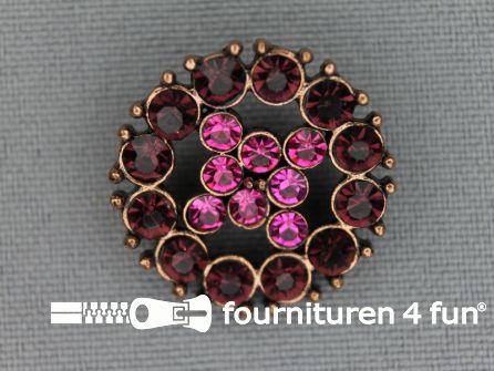 Strass stenen knoop 23mm rond roze