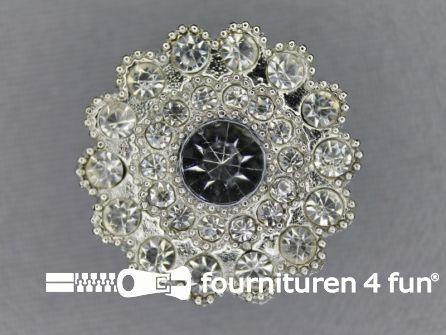 Strass stenen knoop 25mm rond zilver
