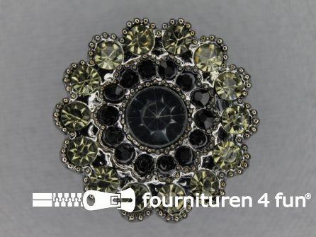 Strass stenen knoop 25mm rond zwart - groen