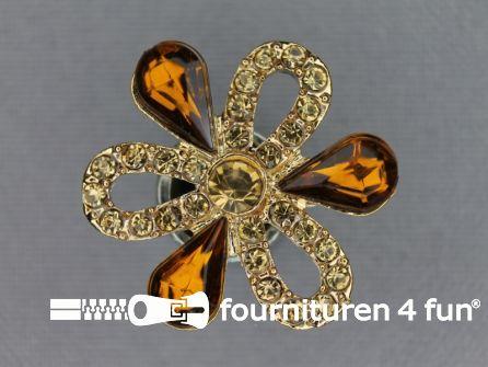 Strass stenen knoop 27mm bloem brique