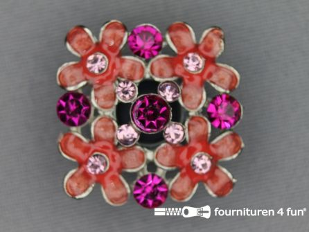 Strass stenen knoop 26mm vierkant zalm - roze