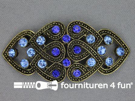 Strass stenen sluiting 28mm kobalt blauw