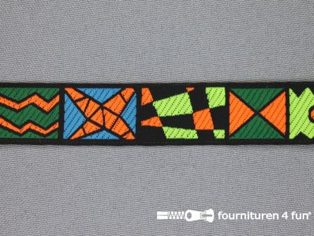 Indianenband 18mm groen - oranje - blauw